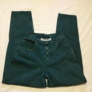 Vintage 80s mom high waisted green jeans
